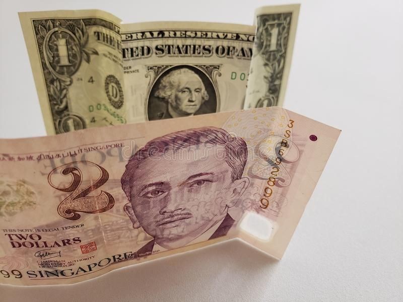 Singaporean Banknote Of Two Dollars And American One Dollar Bill Commerce Exchange Trade Trading Value Buy Sell One Dollar Bill Dollar Bill Two Dollars