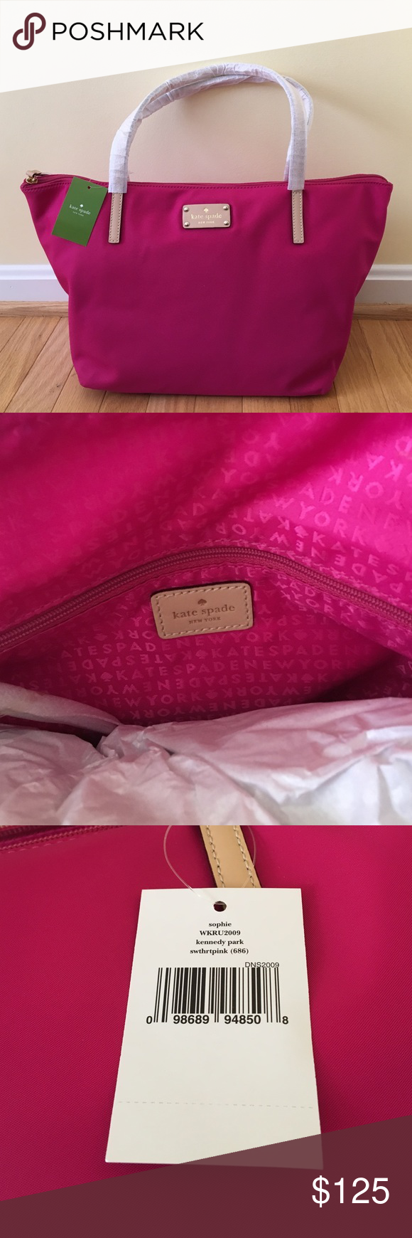 NWT Kate Spade Kennedy Park Sophie nylon Tote Bag Sweetheart pink nylon tote bag.  New with tags.  Tan straps still have protective wrapping.  Zippered inside pocket and cell phone pocket inside too. kate spade Bags Totes