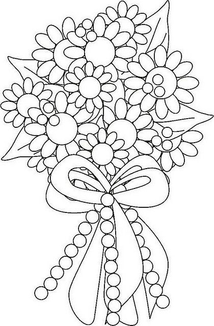 Flower Bouquet Coloring Page | Flower bouquets, Flower and Adult ...