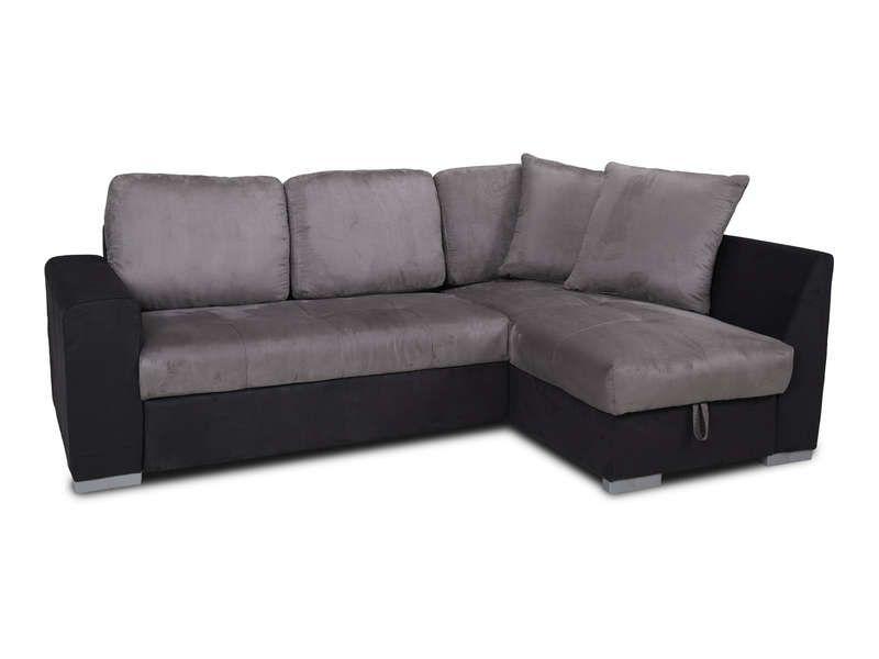 Canapé du0027angle convertible MISTER coloris gris noir - Vente de - conforama chaises salle a manger