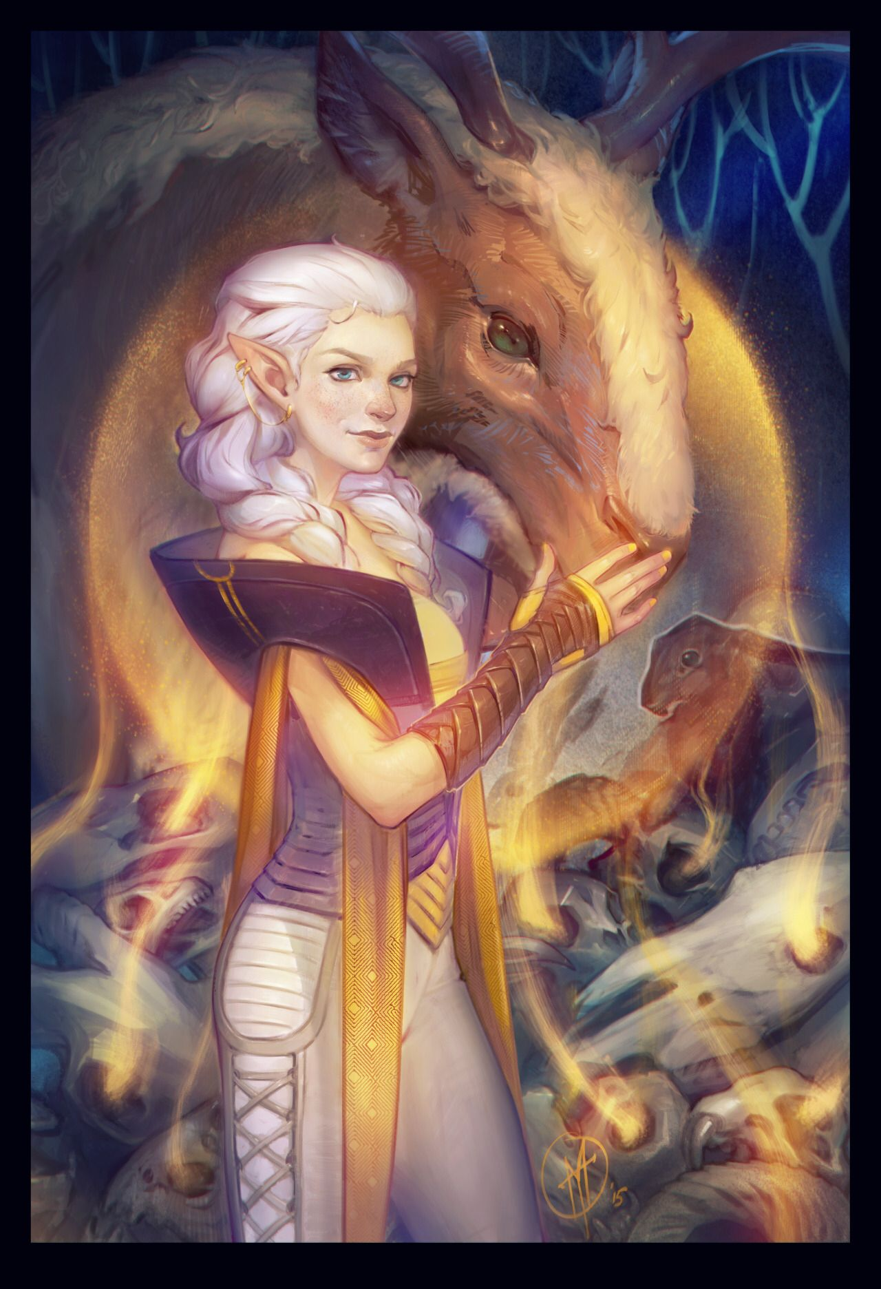 """Ghilan'nain. Mother of the halla in elven pantheon of Dragon Age universe. """"They say Ghilan'nain was one of the People, in the days before Arlathan, and the chosen of Andruil the Huntress. She was very beautiful — with hair of snowy white — and as graceful as a gazelle. She kept always to Andruil's Ways, and Andruil favored her above all others."""""""