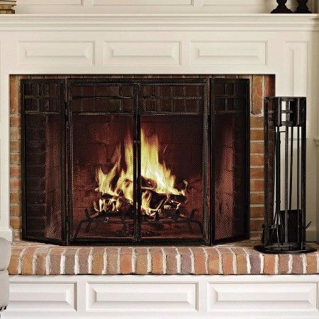 Mission Fireplace Screen - Black - Threshold™ | Fireplace screens ...