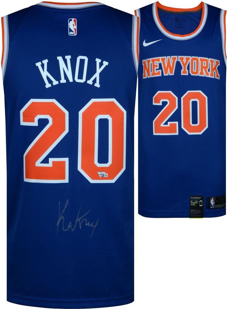 new product 4815b 4699e Kevin Knox New York Knicks Autographed Nike Swingman Blue ...