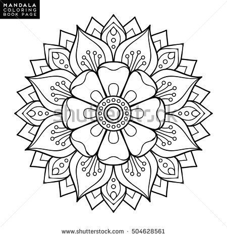 mandala vector floral flower oriental coloring book page outline ...