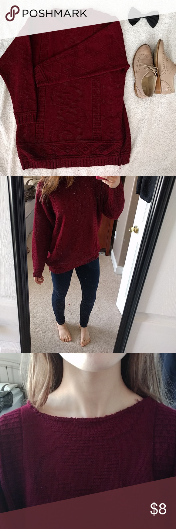 Oversized maroon sweater This cable knit sweater was a hand-me-down, I'll be honest. But it is a perfect cozy vintage-looking sweater for the winter! With a cable knit unique pattern, it is a classic to wear with jeans or leggings when you just want to bundle up. There is some wear to this (reflected in price) such as slightly frayed collar and snags on the bottom hem (shown, and one identical to it on other side) but if you're going for the grandpa cozy look, it's for you! Sweaters Crew…