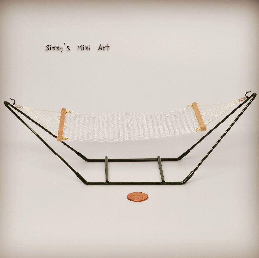 dollhouse miniature hammock with stand miniature furniture