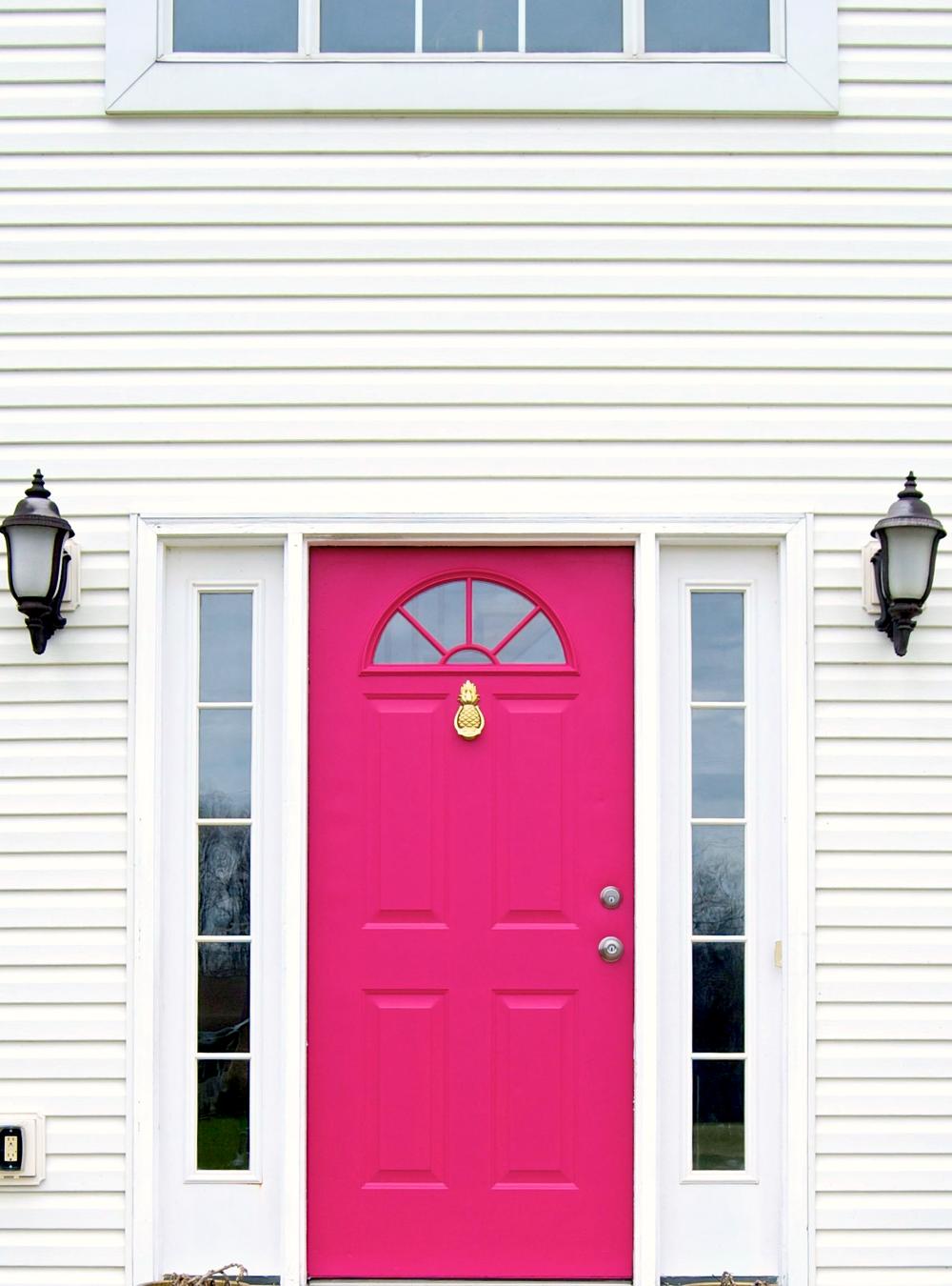 Hot Pink Door With Brass Pineapple Doorknocker. This door was ...