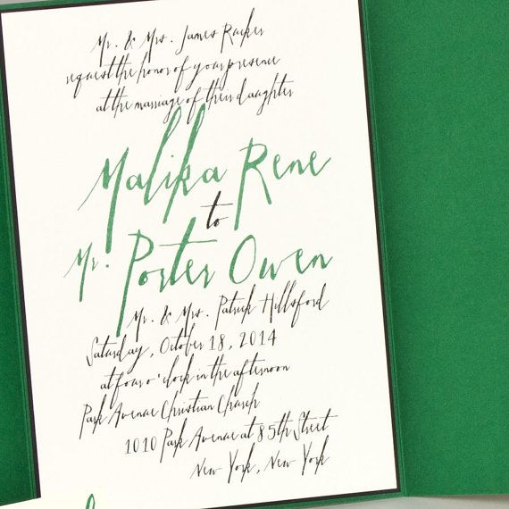 Modern Emerald Green Wedding invitation by SuitePaper on Etsy, $5.50