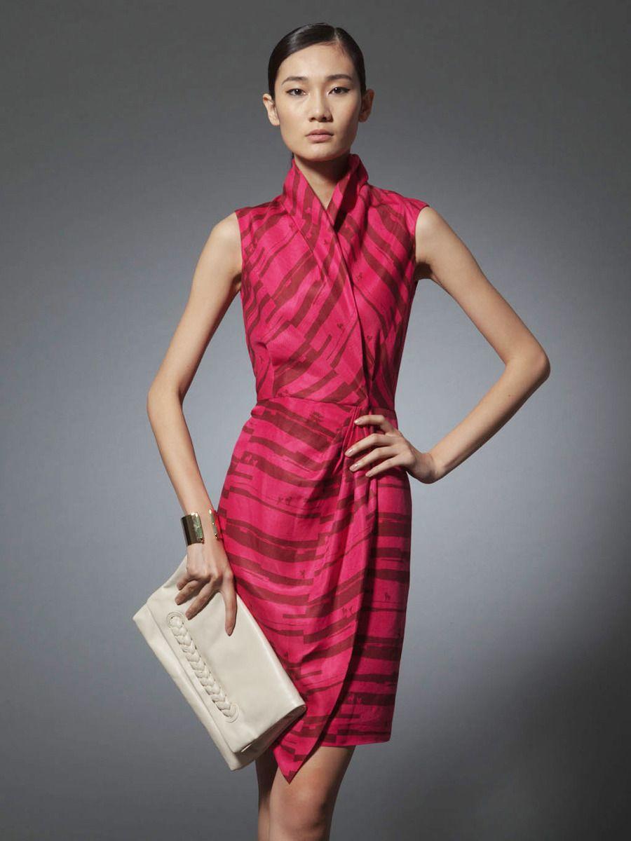 Riding horse print silk linen dress