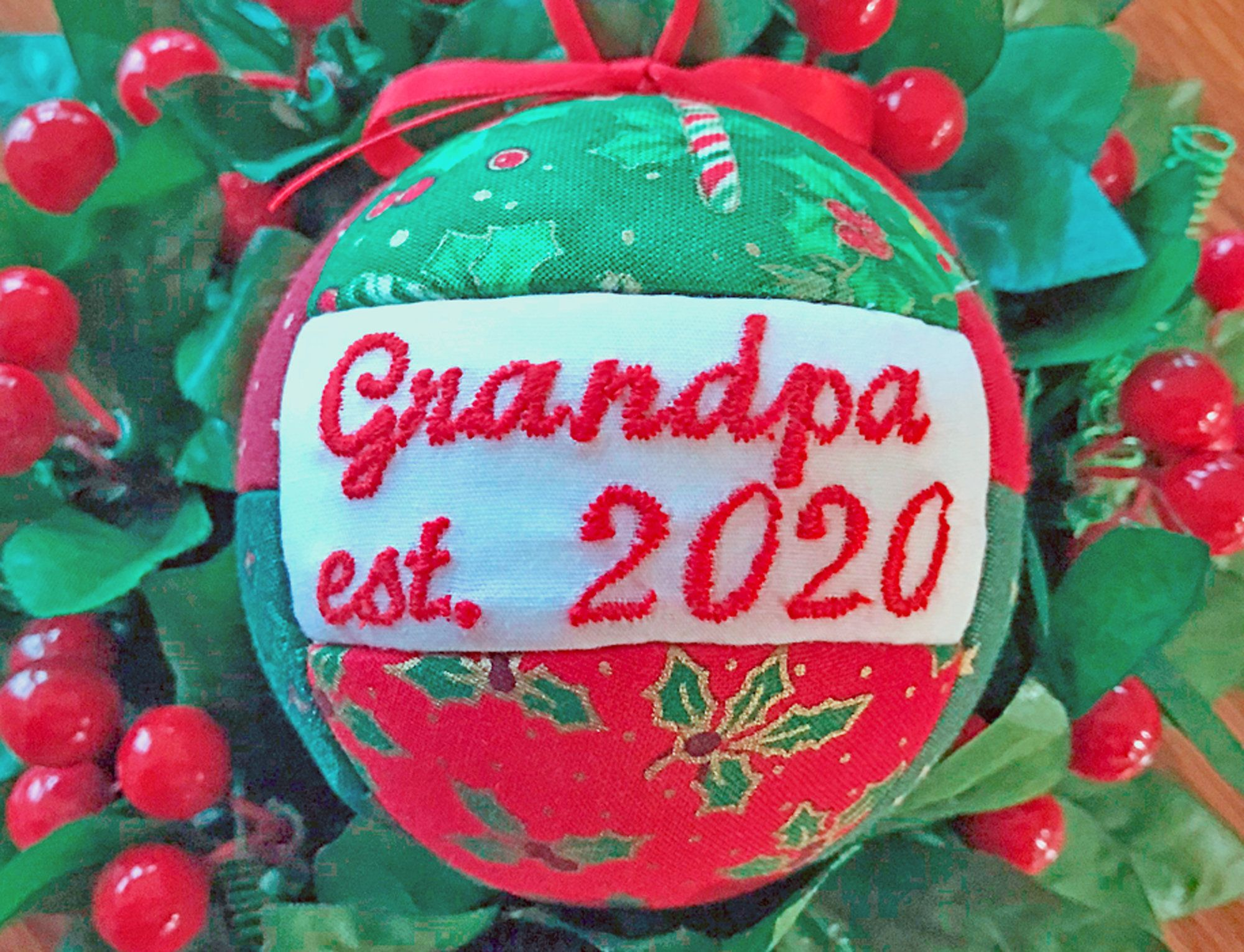 Grandpa est. 2020 Christmas Ornament Handmade Ornaments