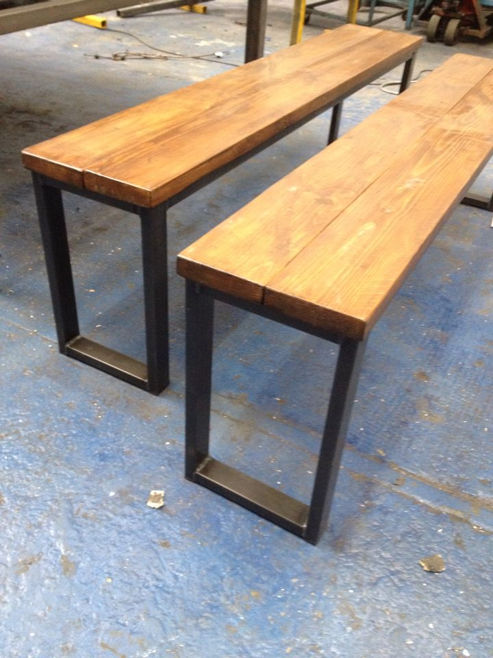 Industrial style restaurant benches. Raw metal with cedar stained timber # reclaimed www.101furniture