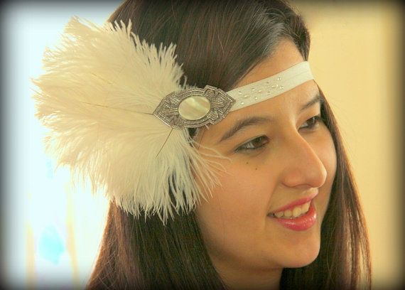 White 1920s Headband, Great Gatsby Headpiece, White