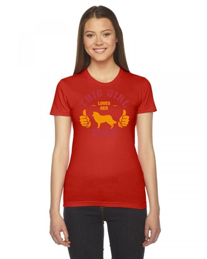 this girl loves her collie t shirt design Ladies Fitted T-Shirt