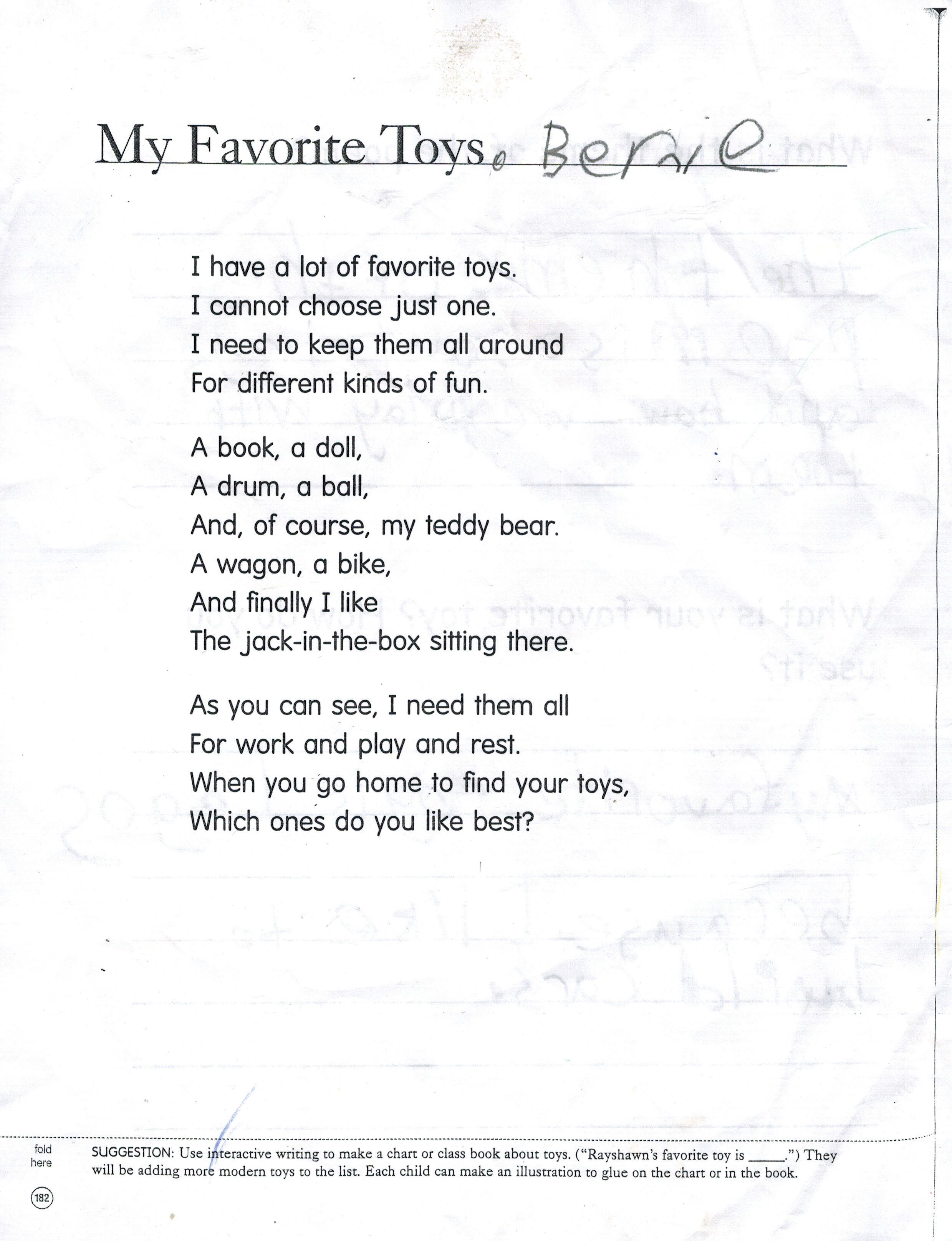 The Favourite Toy Poem That Goes With The Next Pin