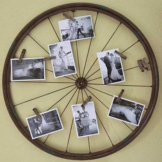20 Maneras De Cómo Reciclar Las Ruedas De Tu Bicicleta: Bicycle Wheel Photo Collage DIY.......