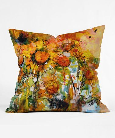 Ginette Fine Art Abstract Sunflowers Throw Pillow