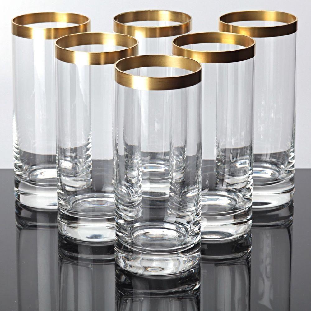 6 ingrid glas becher goldrand gl ser ingridglas ig 14 cm vintage saftgl ser sch ne trinkgl ser. Black Bedroom Furniture Sets. Home Design Ideas
