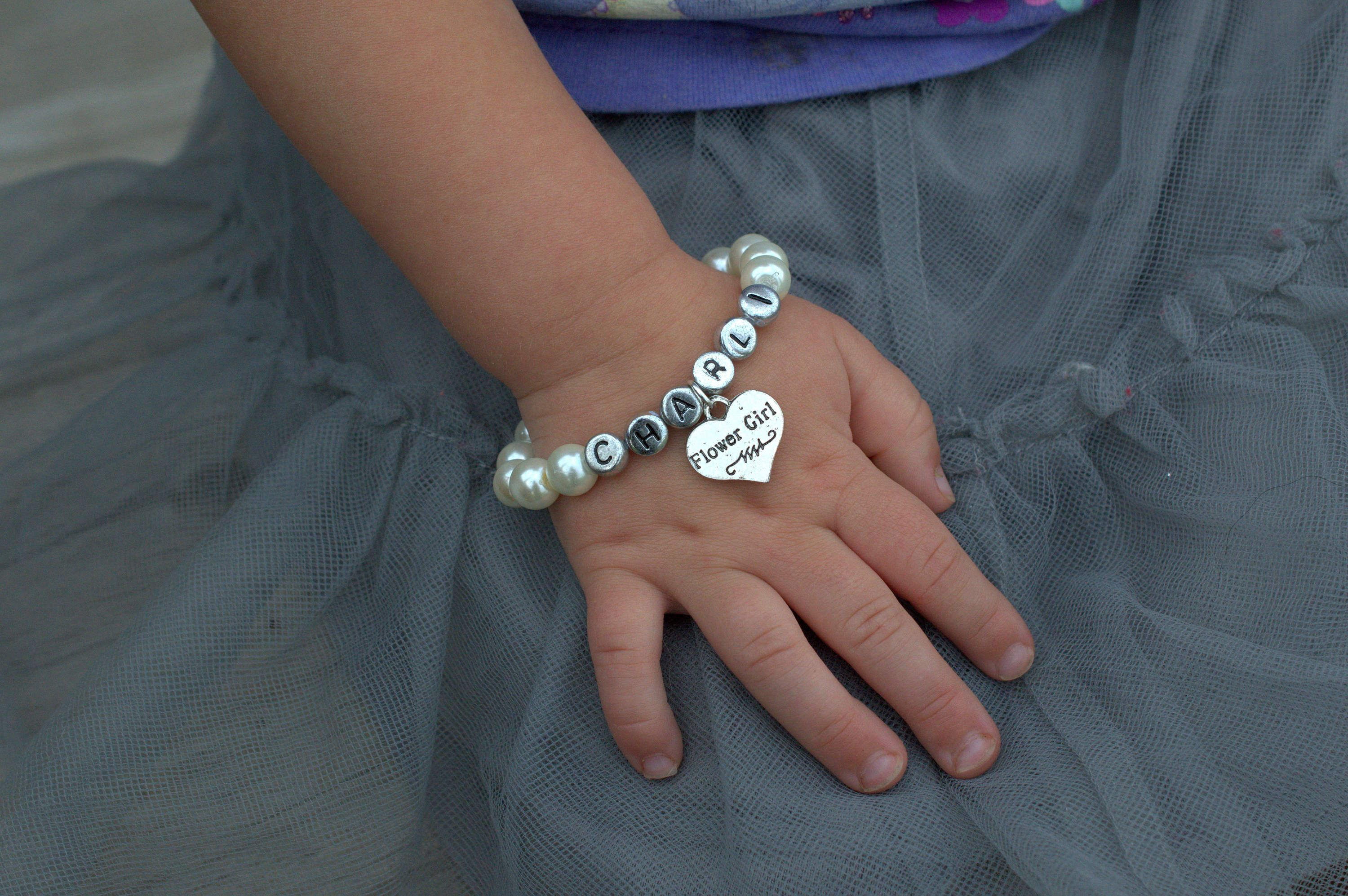 bracelet girl strand pearl zoom listing white simple single il one flower fullxfull flowergirl
