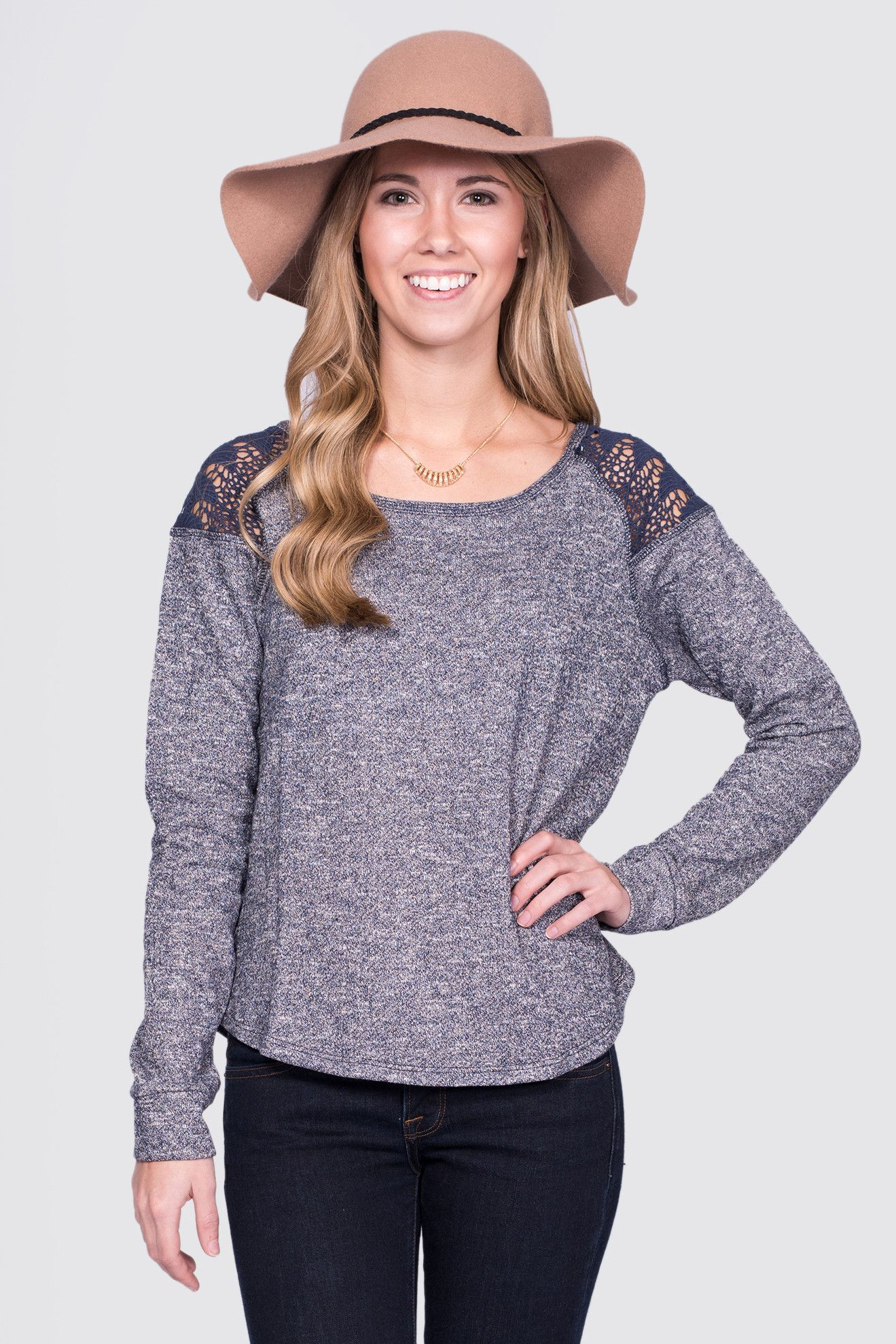 Hot Cocoa Long Sleeve Sweater in Navy