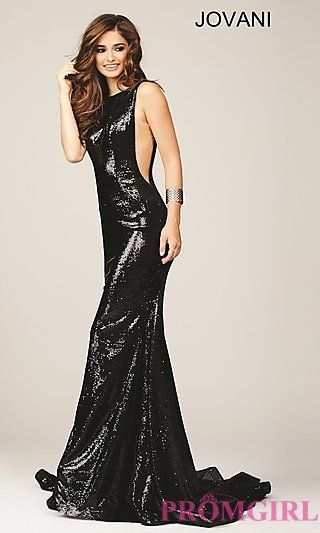 Long Black Sequin Jovani Prom Dress with Sheer Sides | Dresses ...
