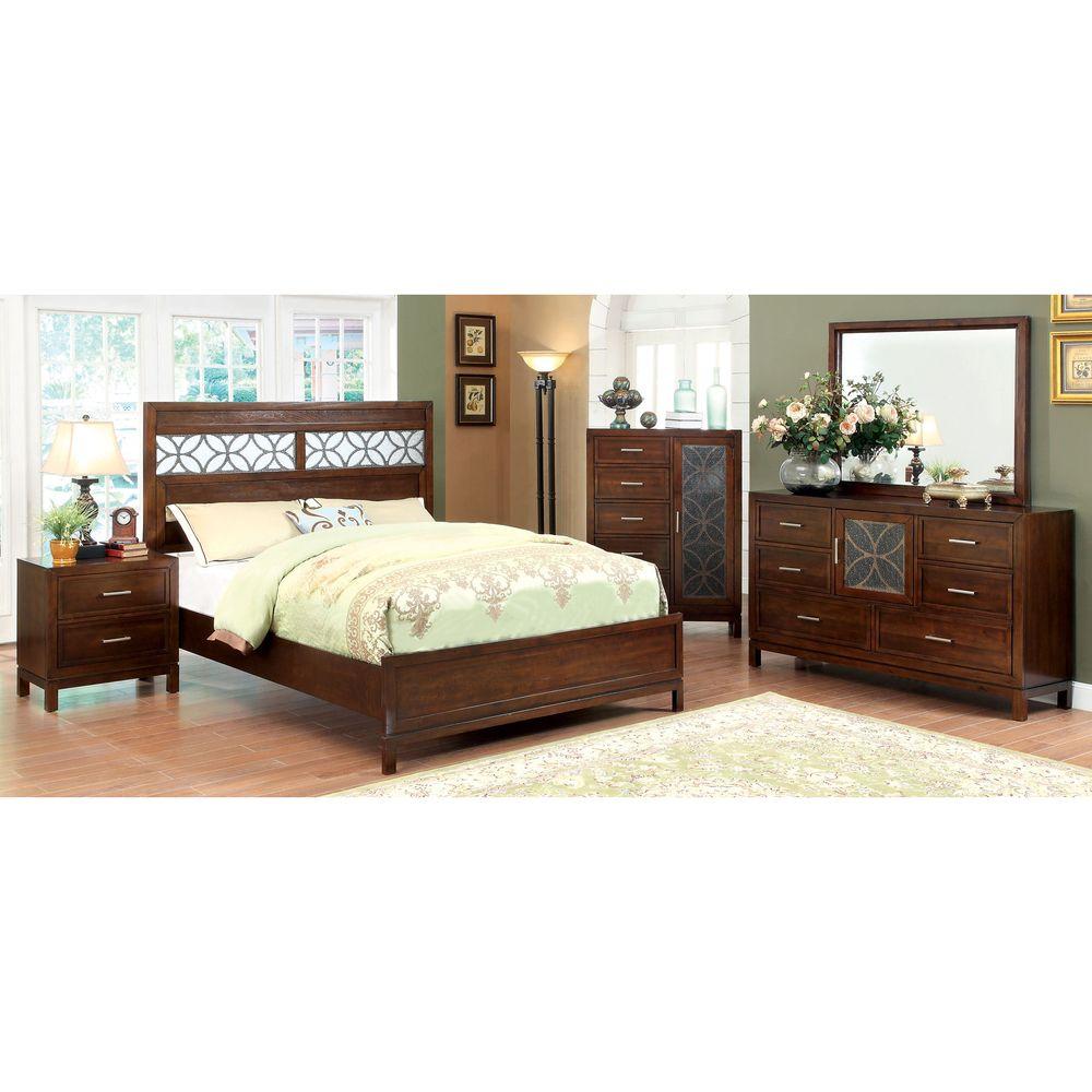 Furniture of america petalia piece brown cherry bedroom set