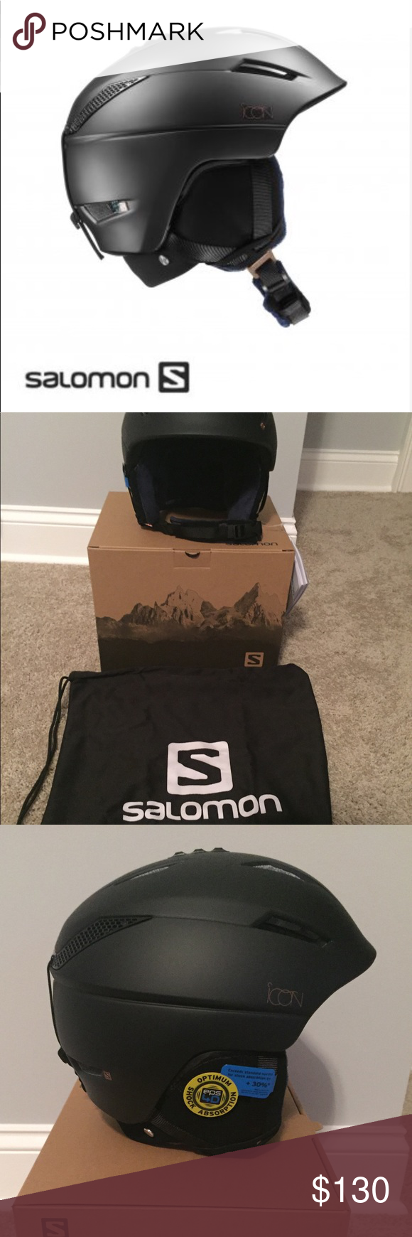 Salomon Icon2 Custom Air Ski Helmet in Matte Black NWT Salomon Icon 2  Custom Air Women s c55632cd02