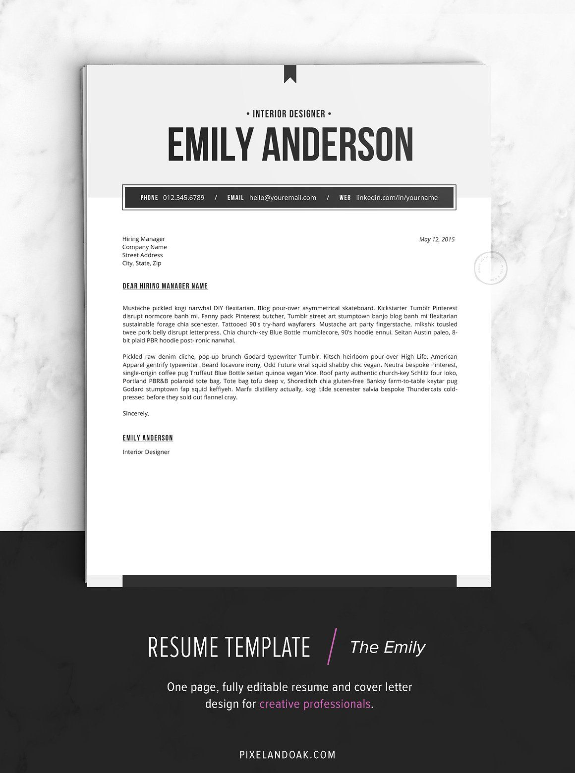 Resume Template The Emily Download Fonts Free Note Resume Template Creative Resume Templates Resume