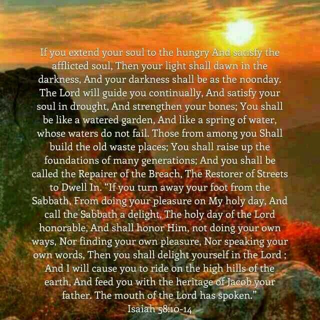 Isaiah 58 10 14 Basic Instructions Before Leaving Earth