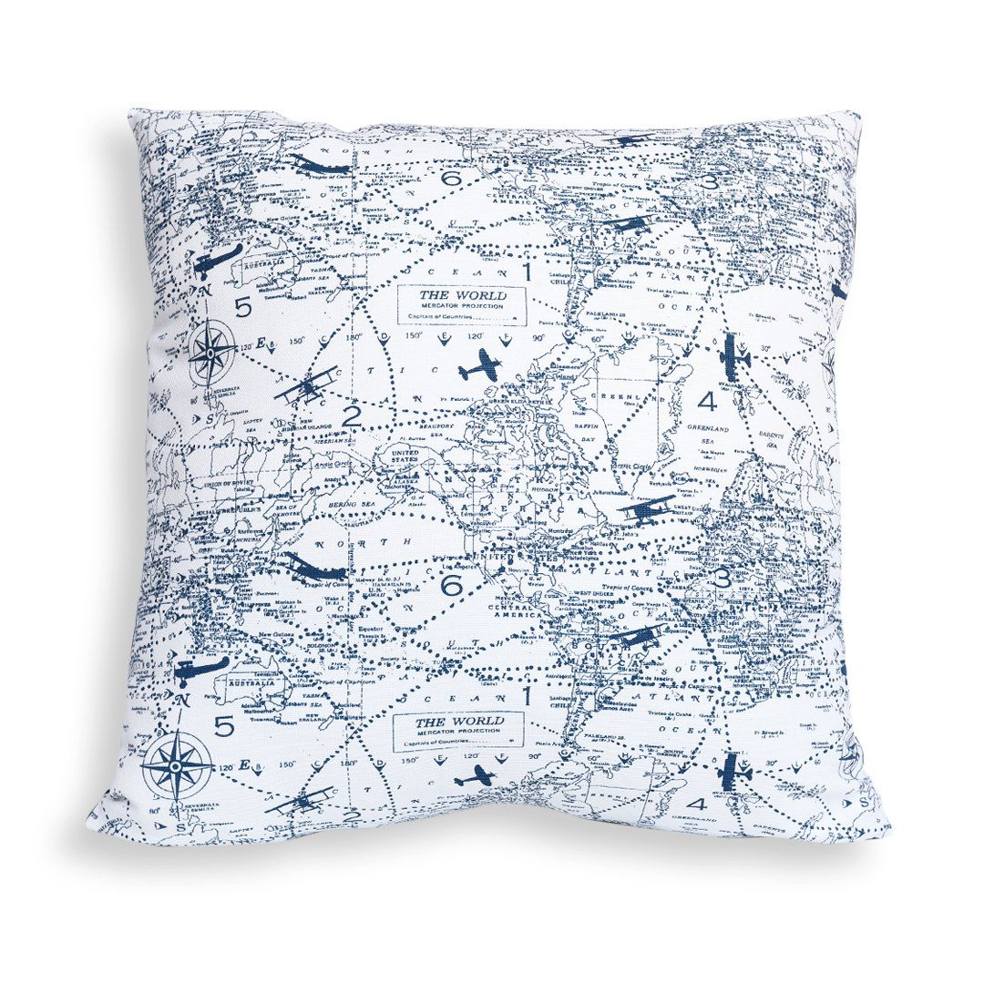 World map with vintage airplanes reversible pillow cover in navy world map with vintage airplanes reversible pillow cover in navy blue and white traveler pilot cartographer gift gumiabroncs Gallery
