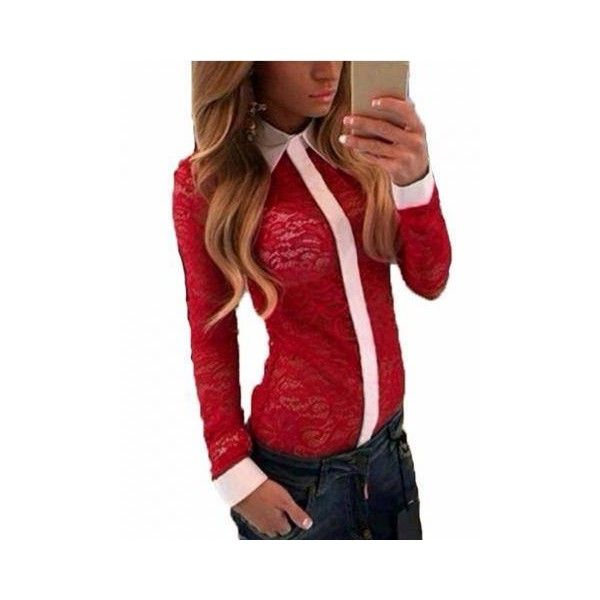 Lace See-through Long Sleeve Lapel Sexy Blouse ($8.79) ❤ liked on Polyvore featuring tops, blouses, black, blouses & shirts, red lace shirt, red lace blouse, shirts & blouses, red shirt and long shirts