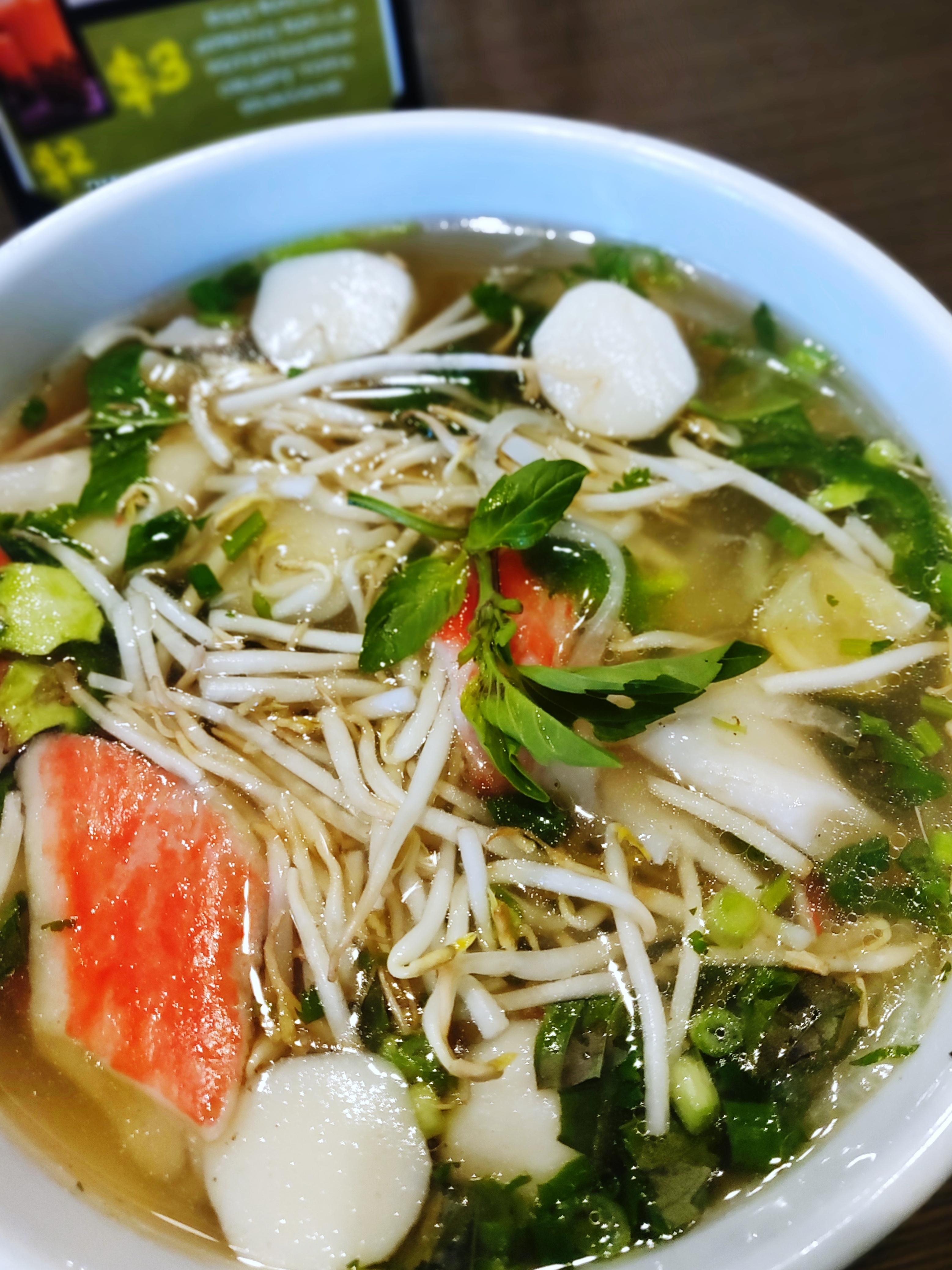 I ate] Seafood Pho with crab meat and fish balls | Food in