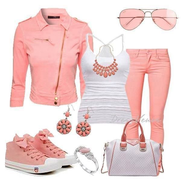 2a841be22 conjunto de ropa de moda en colores rosa pastel