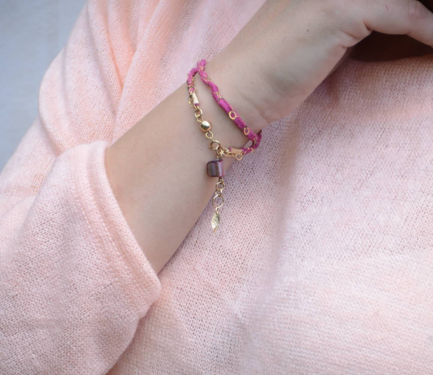 Gold leather dusky pink bracelet for women boho pink leather cuff