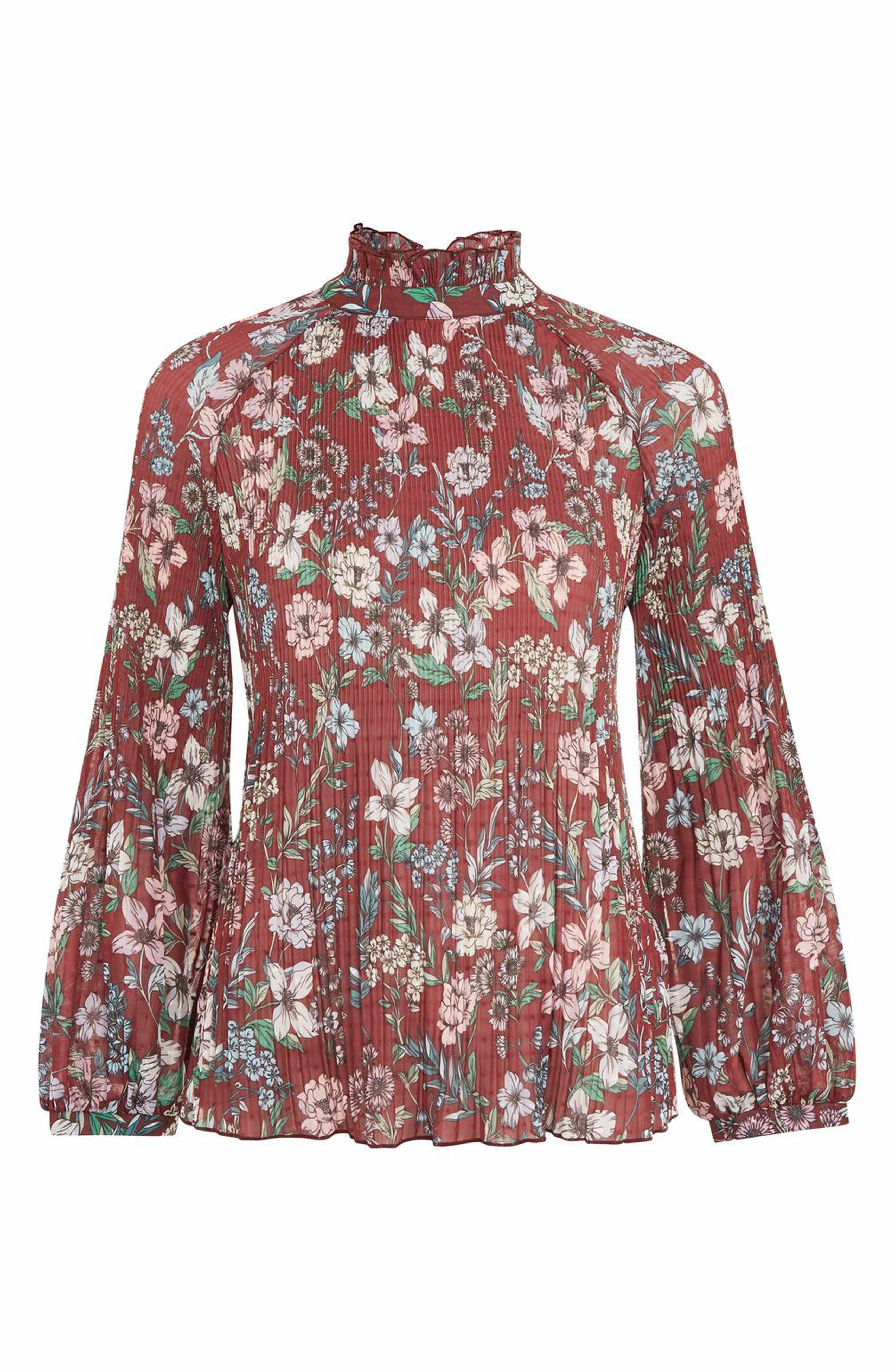 677c99bfaaf Main Image - Topshop Floral Pleat Tunic Blouse