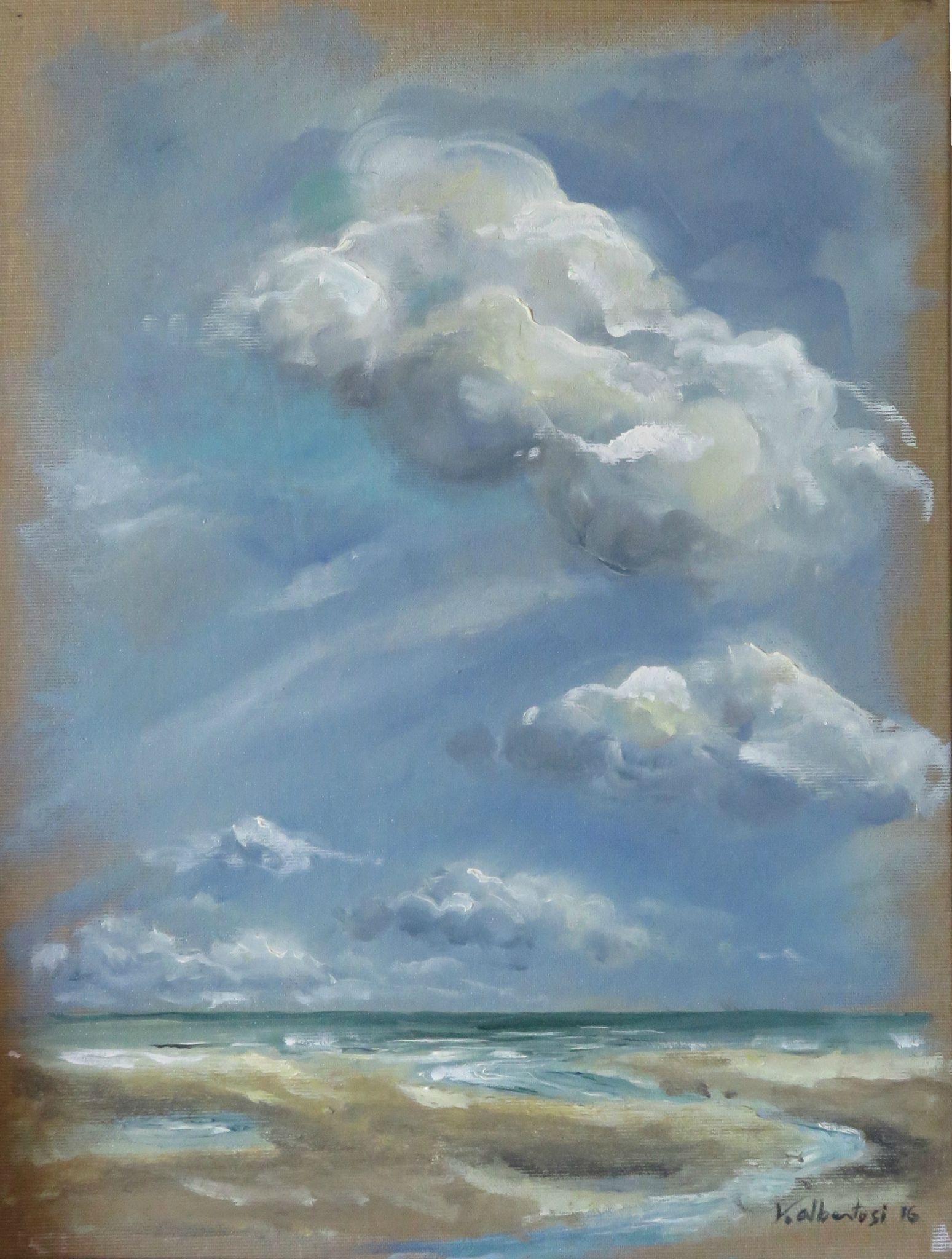 Peinture mer nord pas de calais tableau mer plage valerie albertosi peinture paysages - Tableaux mer et plage ...
