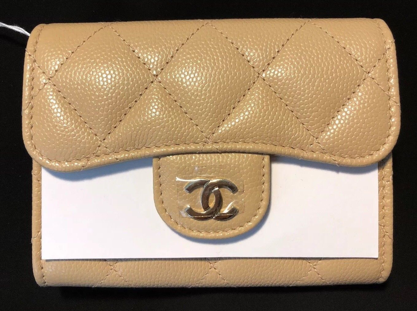 caced85ad505 NEW Chanel Caviar Coin XL Purse Card Holder Back Pocket Beige Gold Hardware  GHW | eBay