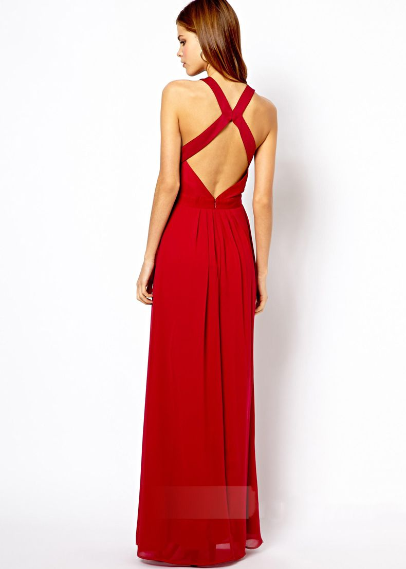 Sexy long backless dress in red and black fashion pinterest
