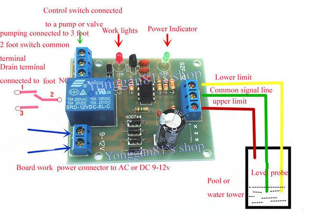 9v 12v Ac Dc Liquid Level Controller Module Water Level Detection Sensor Sensor Detection Work Lights
