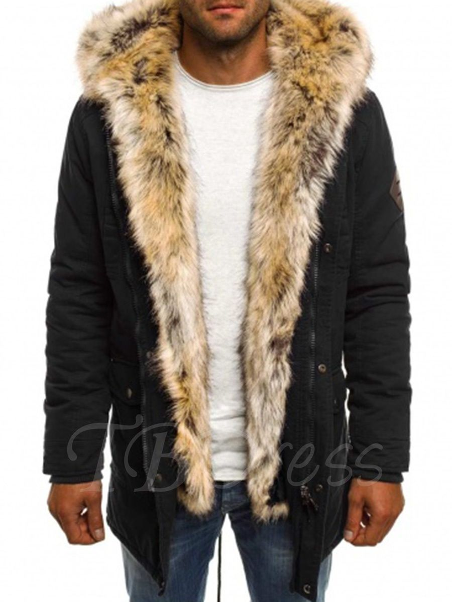 21e5ac85dc7d Tbdress.com offers high quality Fur Hooded Thicken Warm Midi Pattern Solid  Color Men's Winter