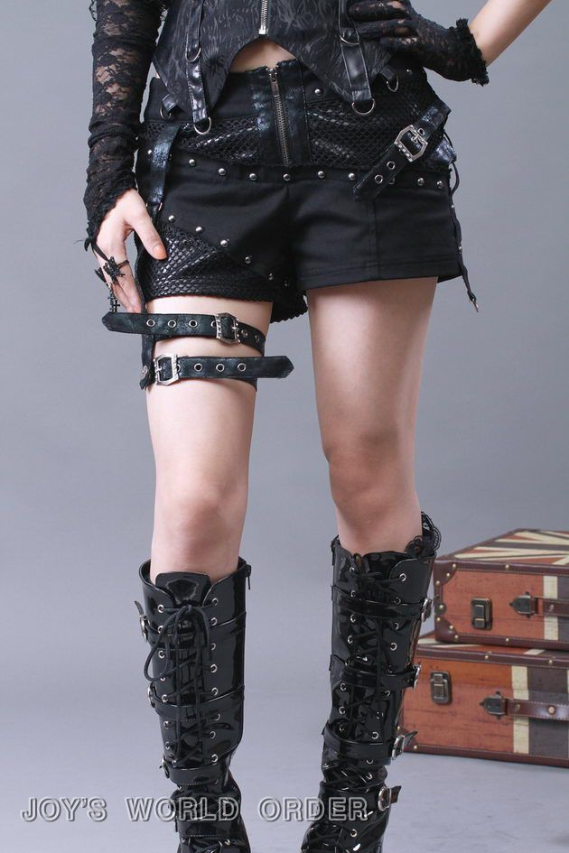 1875c7ef153 Black Punk Shorts with Leg Straps GOTHIC Steampunk EMO Cross