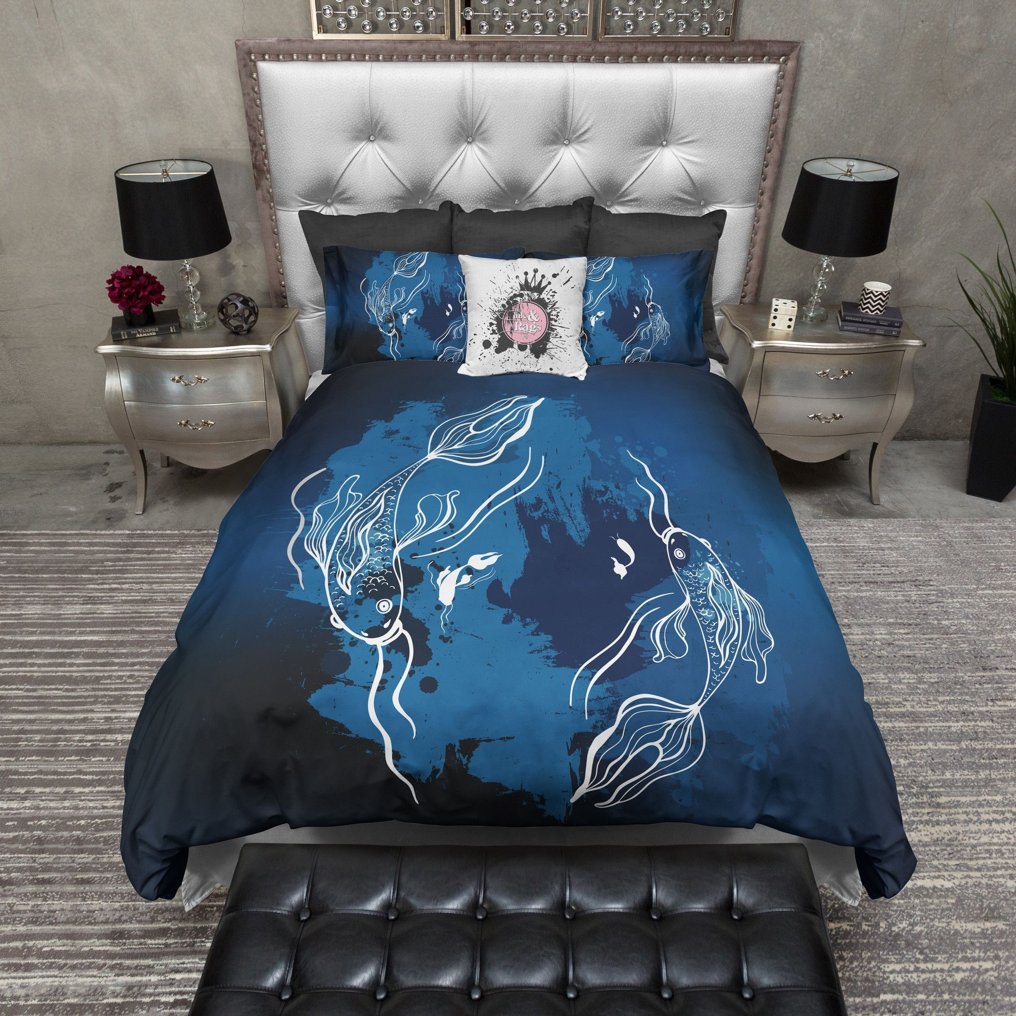Midnight Koi Fish Bedding Bed, Duvet bedding sets