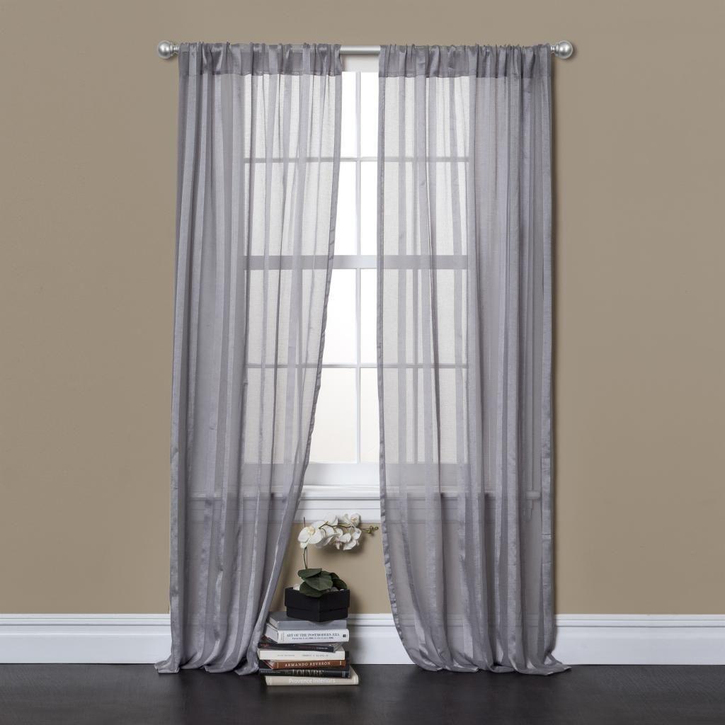 Lush decor rhythm grey inch sheer curtain panel pair by lush