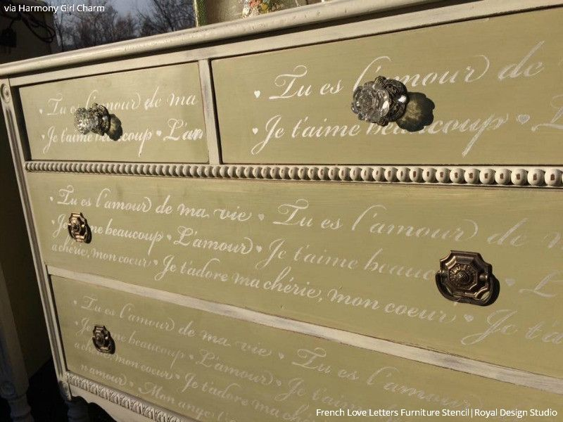 French love letters furniture stencil stenciling paint ideas french love letters furniture stencil ccuart Images