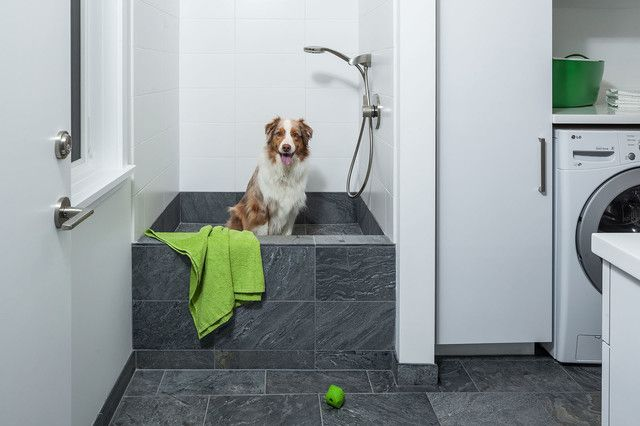 Beau Dog Wash Tub Laundry Room Contemporary With Dog Shower Dog Wash Gray Floor  Tile White Countertop | Ideas For The House | Pinterest | Dog Shower, ...