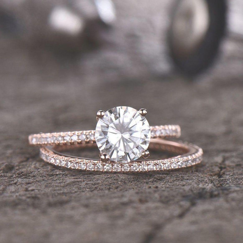Forever One Moissanite Engagement Ring Full Eternity Diamond Wedding Band Bridal Set 7mm Ro Round Engagement Rings Diamond Wedding Bands Engagement Rings Round