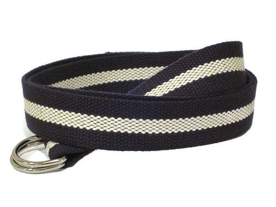 44679603ae6 Canvas Belt Navy Blue White D-Ring Belt   Striped Navy White Belt   Preppy  Belt - for boys teens men women Big   Tall and Plus Size