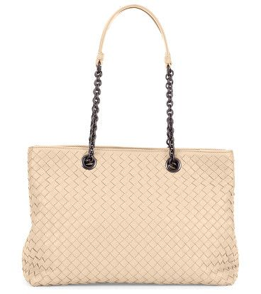Small double-chain-handle intrecciato tote bag by Bottega Veneta. Bottega  Veneta tote in signature intrecciato lambskin. Signature brunito hardware. 0e25a2f66ef19