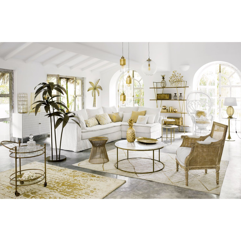 Tavolino da salotto rotondo in marmo bianco e ferro dorato ...