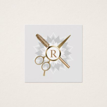 Hair stylist gold monogram lotus flower salon square business card colourmoves