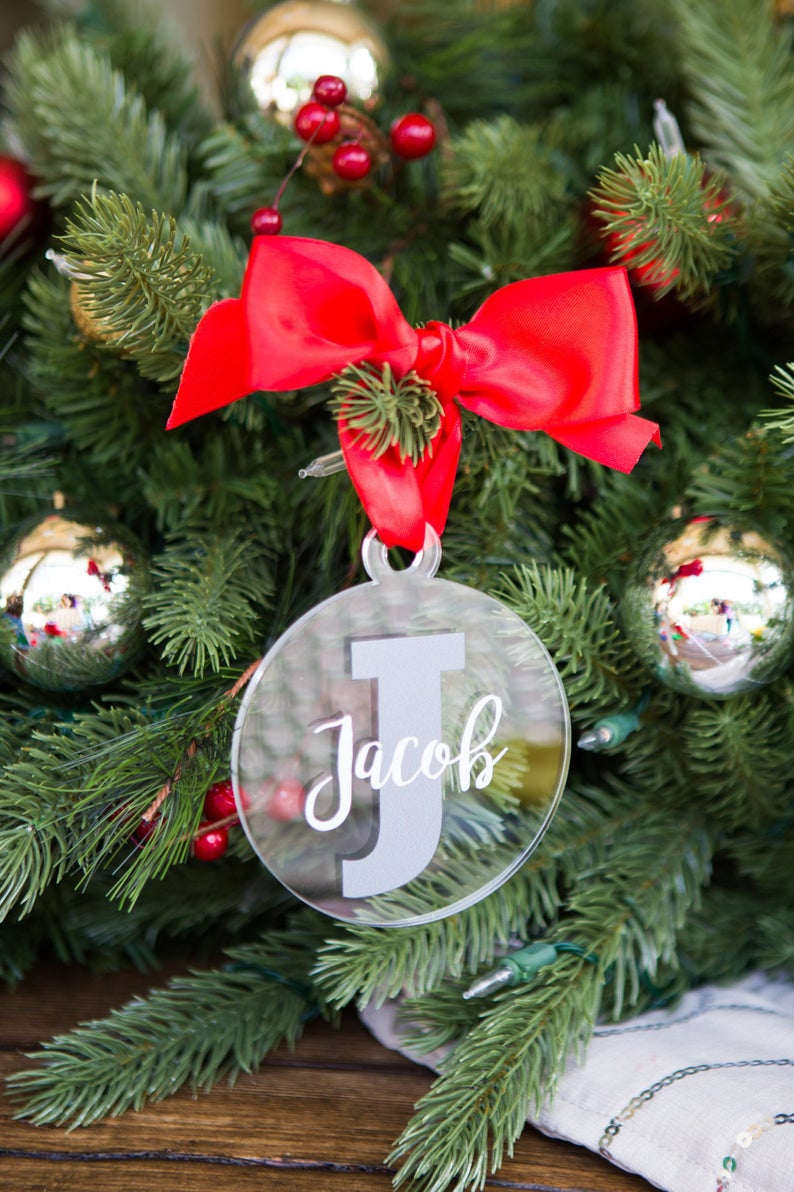 Christmas Ornament Personalized Name And Letter Clear Acrylic Etsy Personalized Christmas Ornaments Christmas Decorations Diy Christmas Ornaments